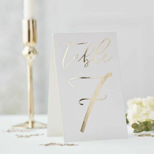 12 Gold Wedding Table Numbers (1-12)
